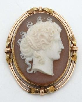 A carved hardstone cameo brooch depicting the head of a