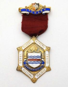 A silver gilt Masonic Jewel with enamel decoration for