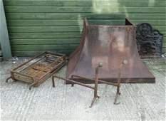 Fire back  hood and basket  a 20thC cast iron fire