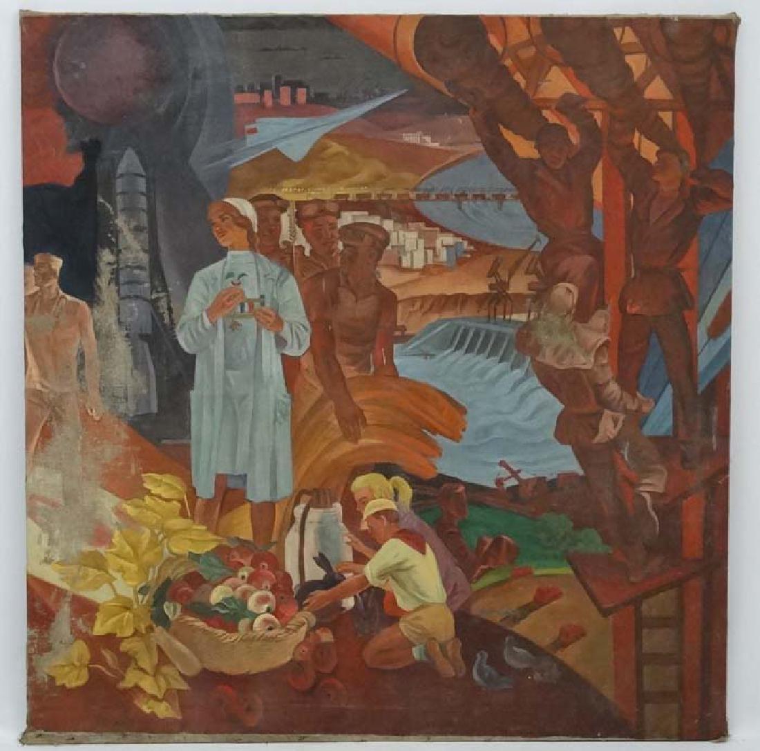 Russian Soviet Propaganda, XX oil on canvas, large,