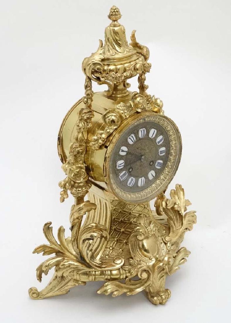 French 8 day ormolu Drum Clock : an ormolu cased 5''