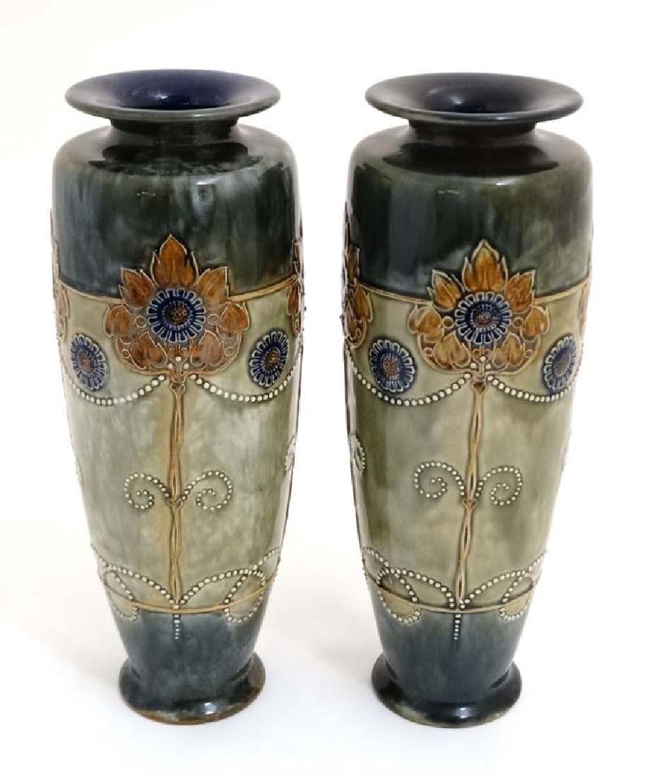 A large pair of Royal Doulton Art Nouveau Lambeth