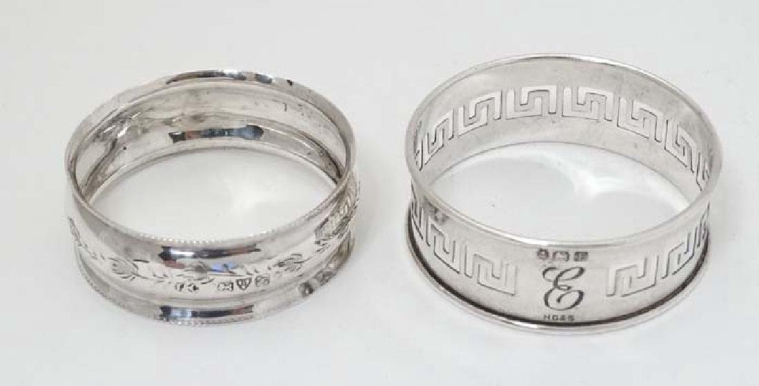 2 silver napkin rings one hallmarked Birmingham 1929