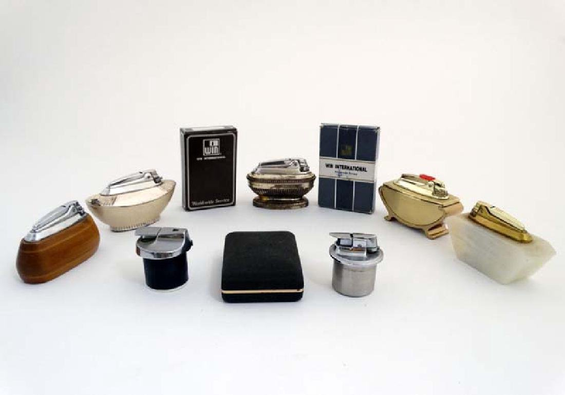 An assortment of five 20thC Table Lighters by Ronson ,