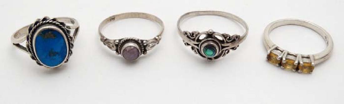 4 various silver rings