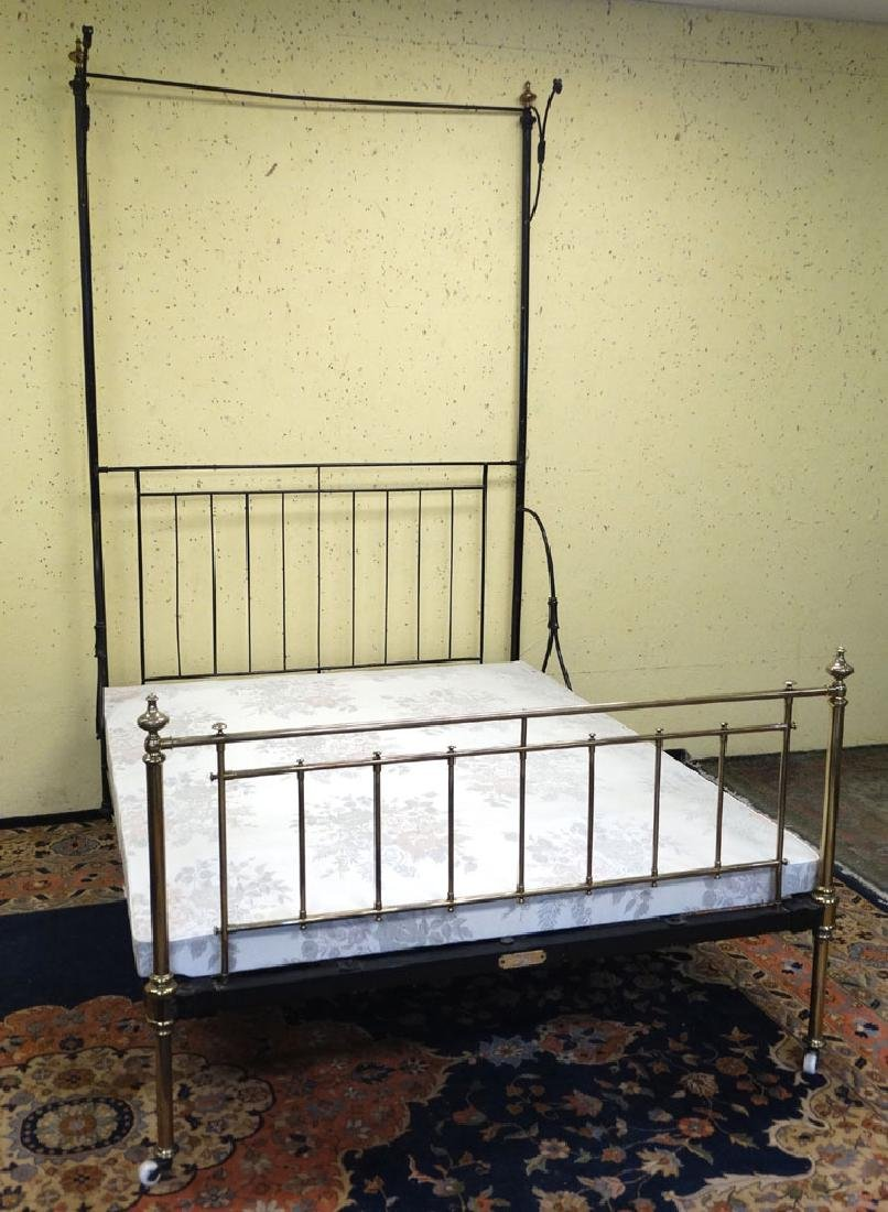 & A Victorian brass and iron half tester / canopy bed