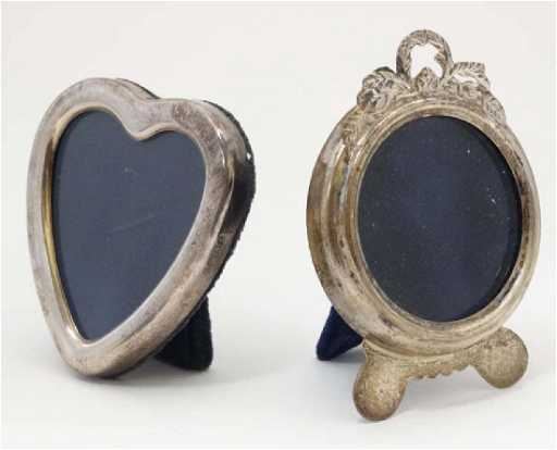 2 Small Photo Frames One Of Silver Heart Shape