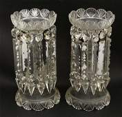 A pair of Victorian cut glass table lustres with glass
