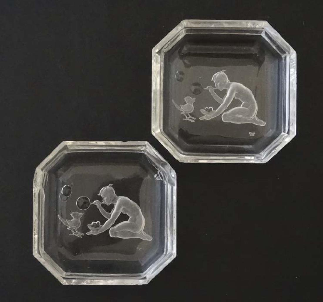 A pair c.1930's of Heinrich Hoffmann glass dishes with
