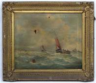 After Alfred Montague XIX Marine School Oil on canvas