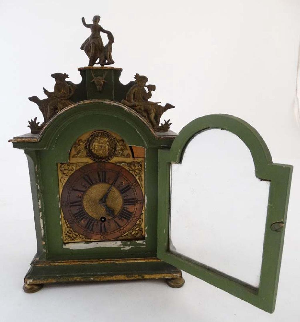 Automaton Clock  : a green painted late 18 thC / early - 10