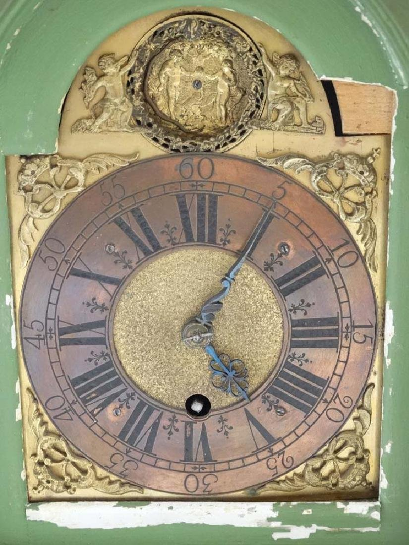 Automaton Clock  : a green painted late 18 thC / early - 11