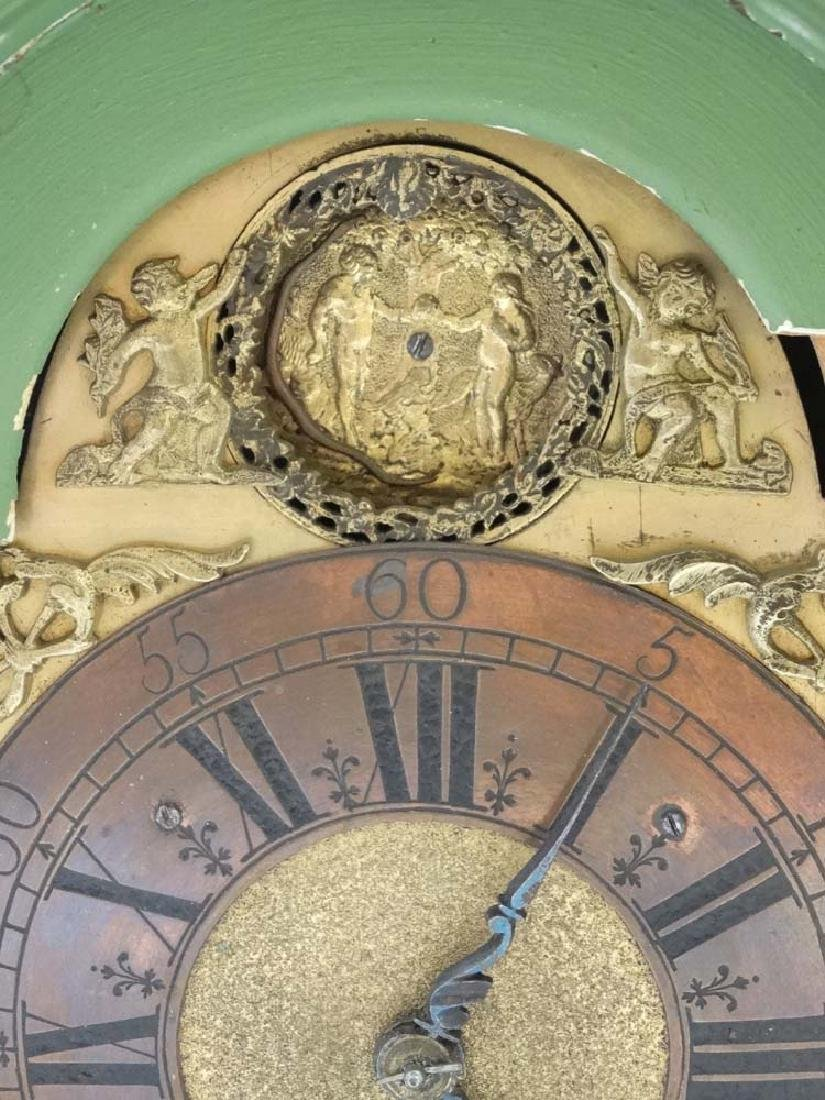 Automaton Clock  : a green painted late 18 thC / early - 12