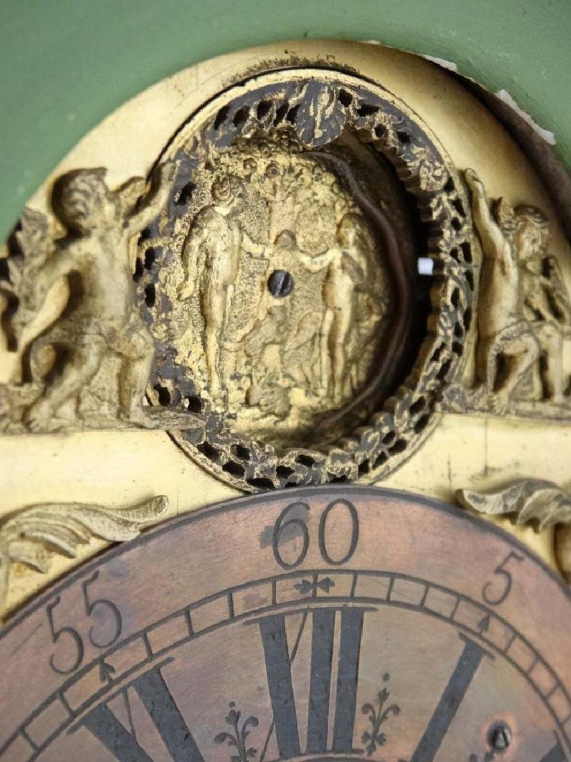 Automaton Clock  : a green painted late 18 thC / early - 14