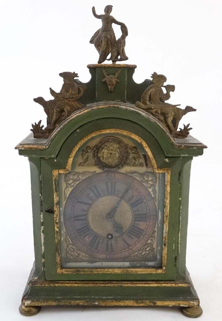 Automaton Clock  : a green painted late 18 thC / early