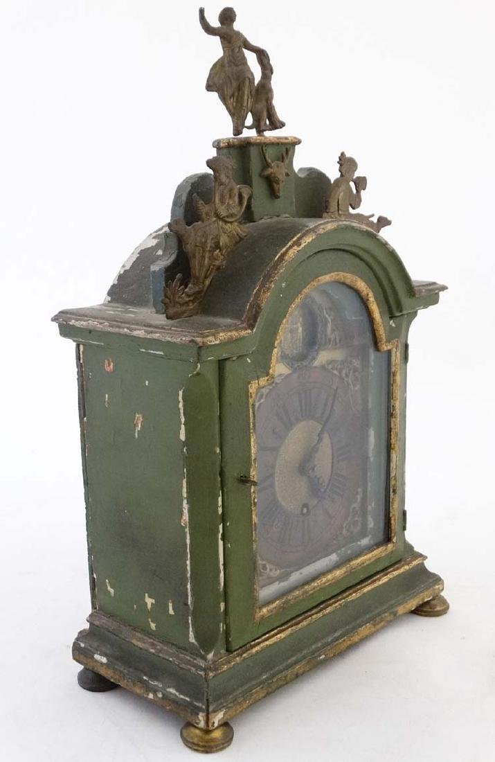 Automaton Clock  : a green painted late 18 thC / early - 4