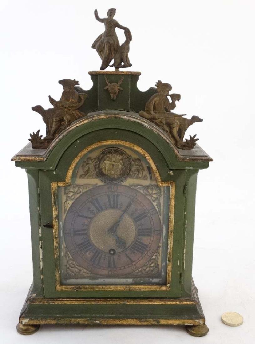 Automaton Clock  : a green painted late 18 thC / early - 5