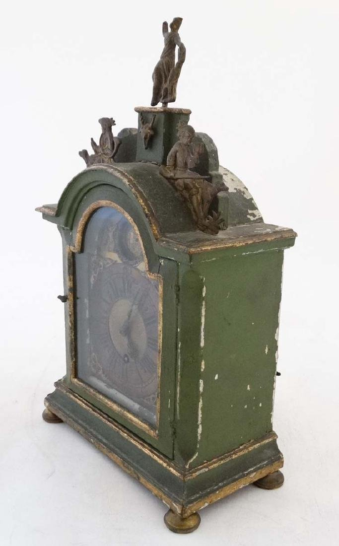 Automaton Clock  : a green painted late 18 thC / early - 6