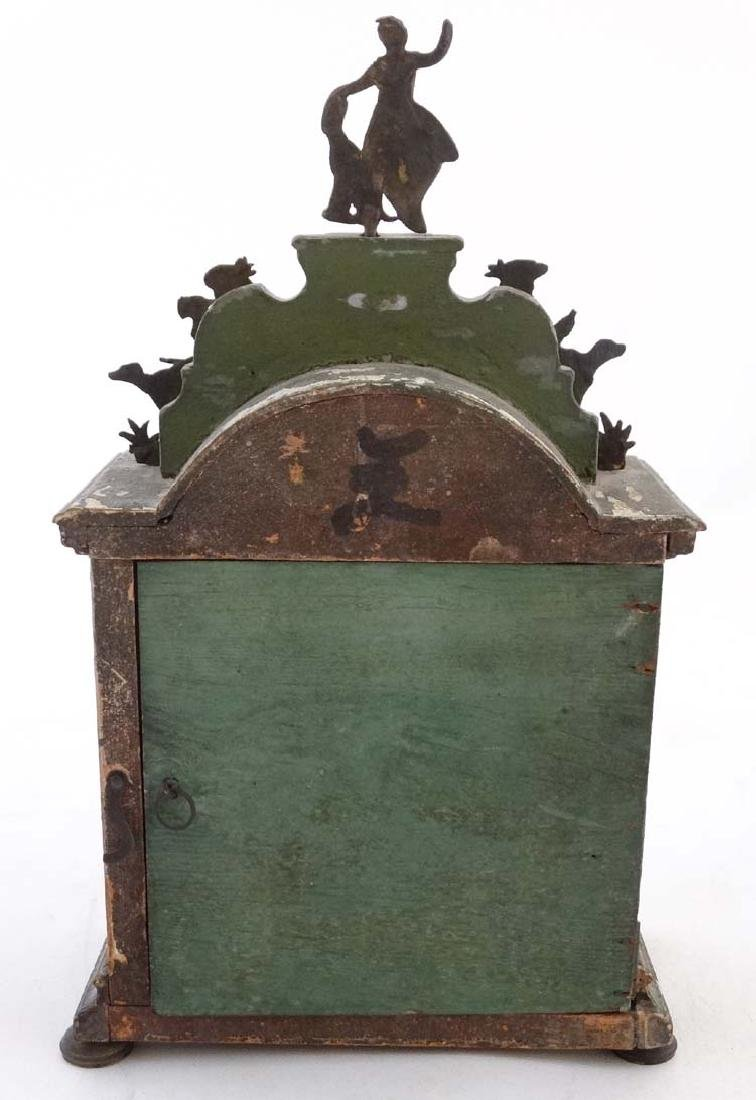 Automaton Clock  : a green painted late 18 thC / early - 7
