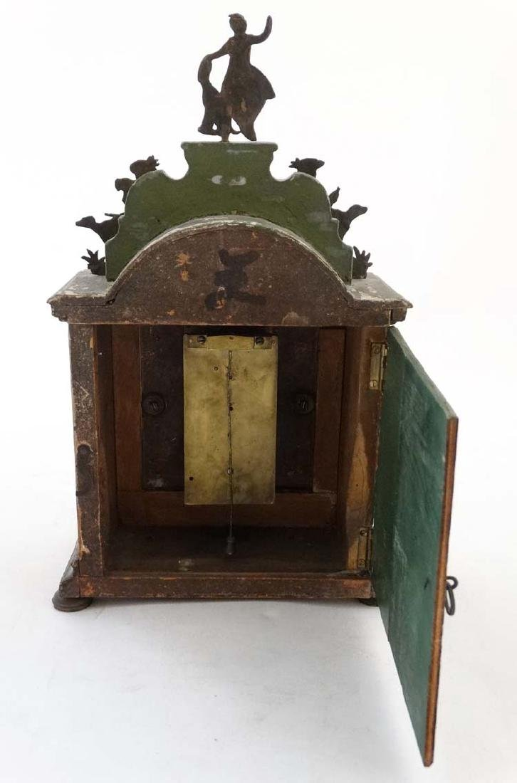 Automaton Clock  : a green painted late 18 thC / early - 8