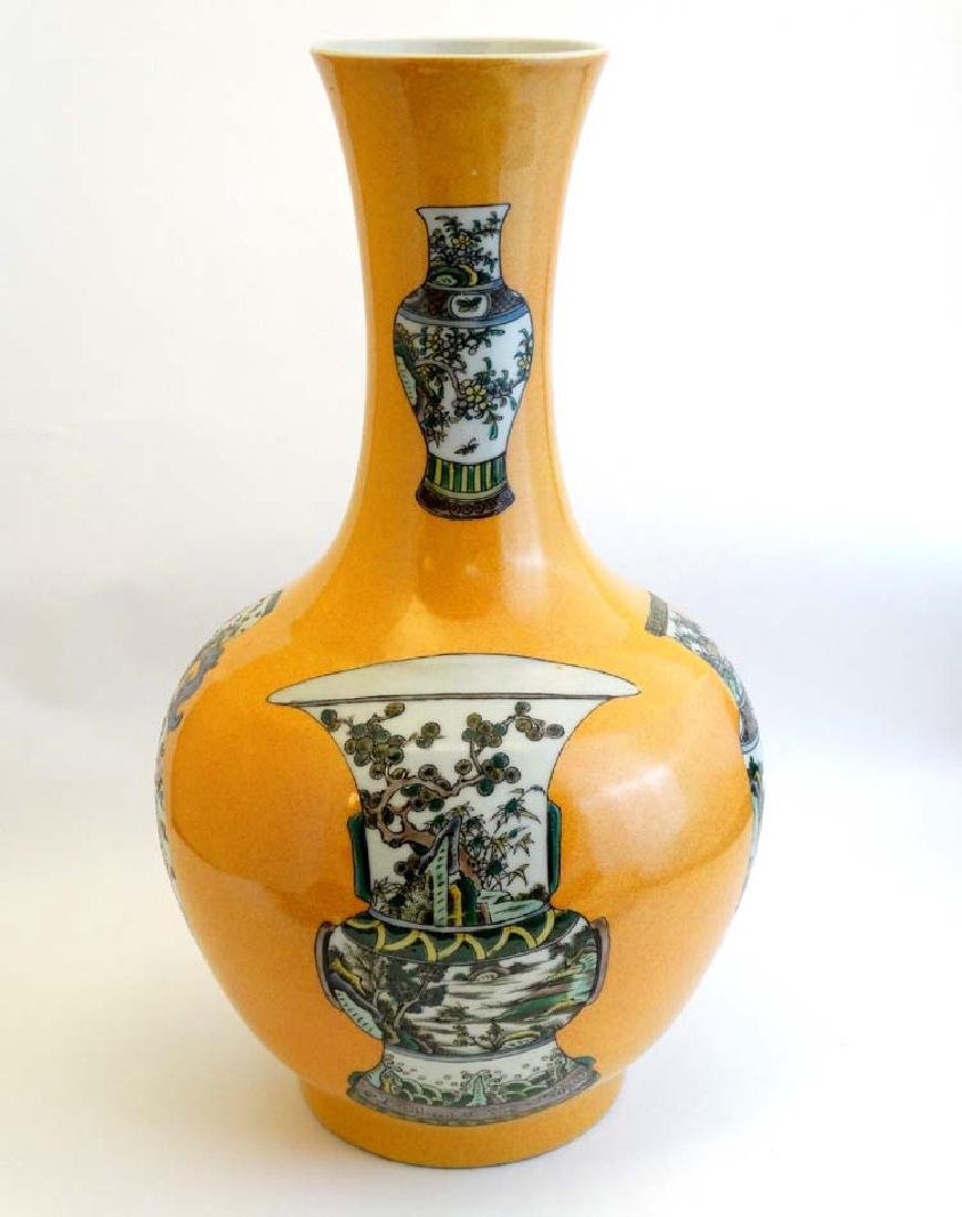 A large Chinese bottle neck vase with flared rim , the - 4