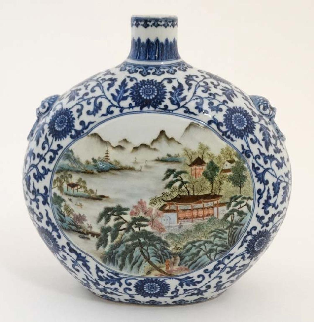 A Chinese blue and white moon flask having panels - 2