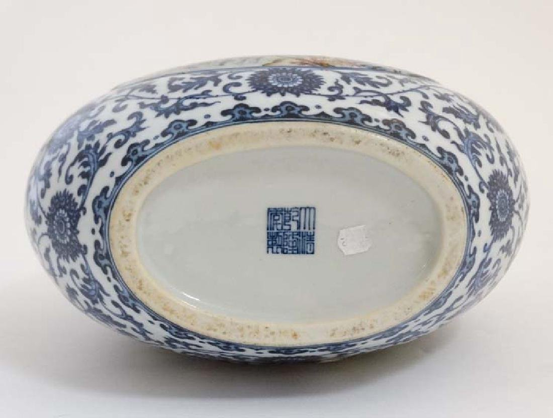 A Chinese blue and white moon flask having panels - 5