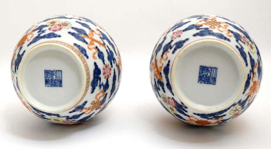 A pair of Chinese blue and white bottle vases decorated - 6