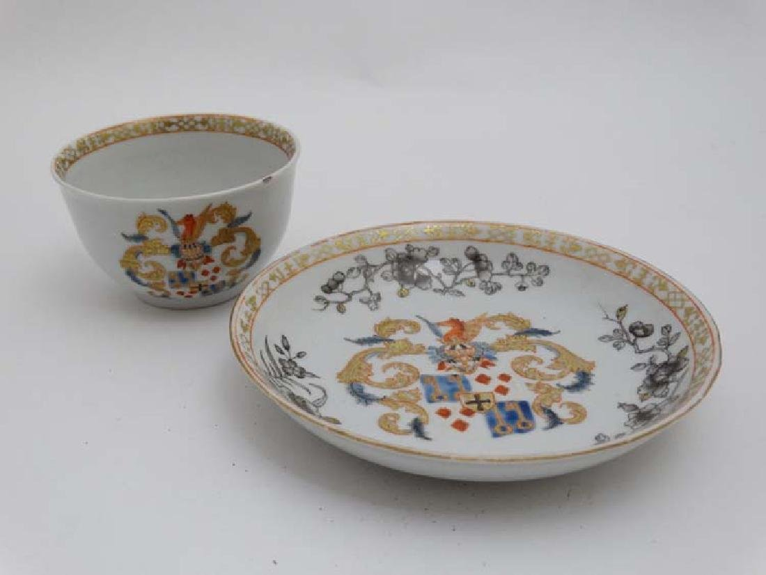 A Chinese Export famille rose  armorial tea bowl and