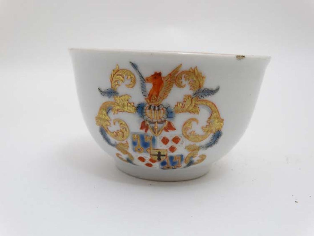 A Chinese Export famille rose  armorial tea bowl and - 6