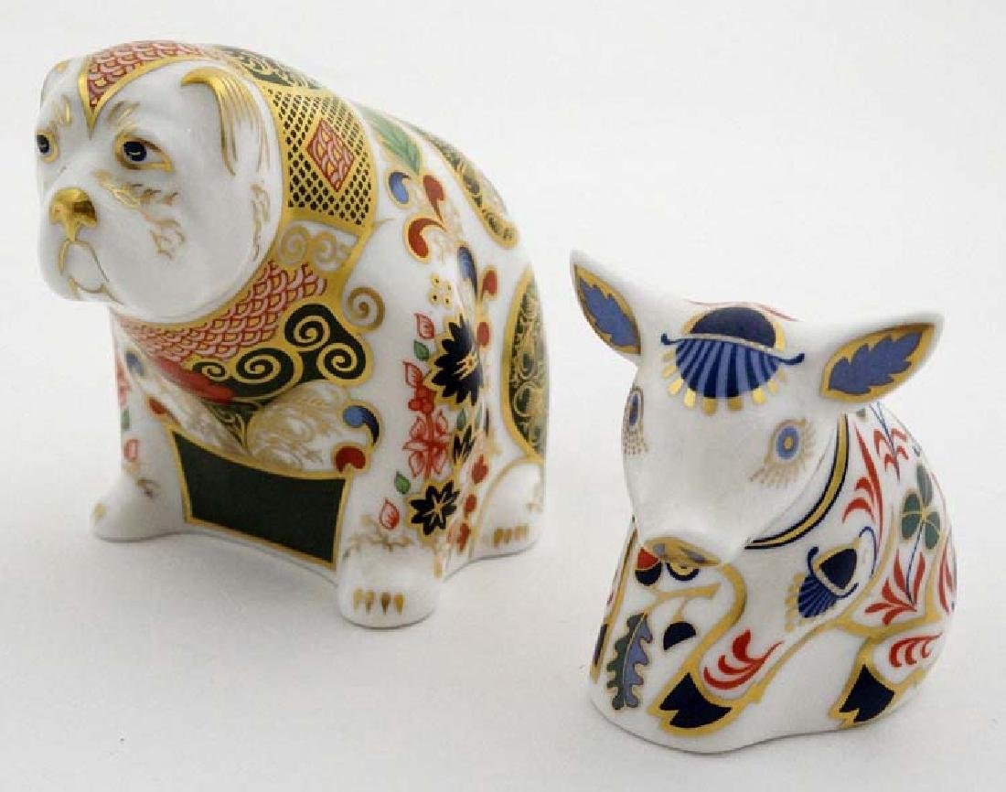 Two Royal Crown Derby paperweights. One formed as a Pig - 3