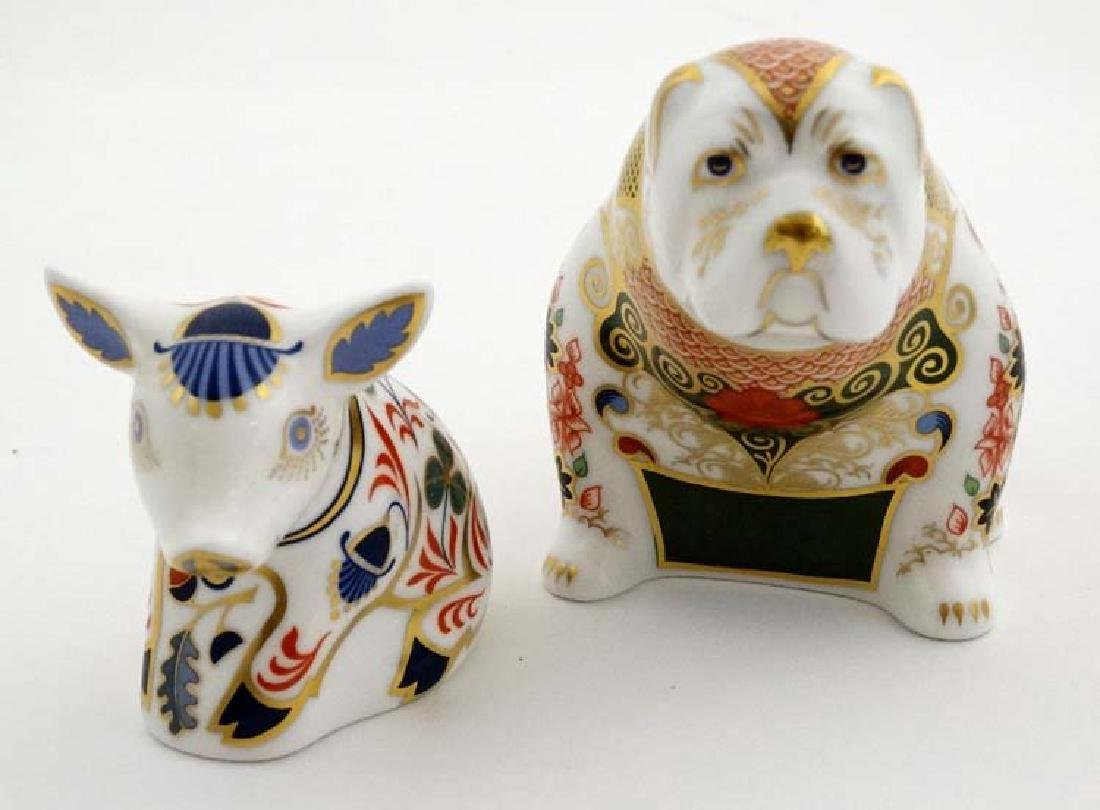 Two Royal Crown Derby paperweights. One formed as a Pig - 4