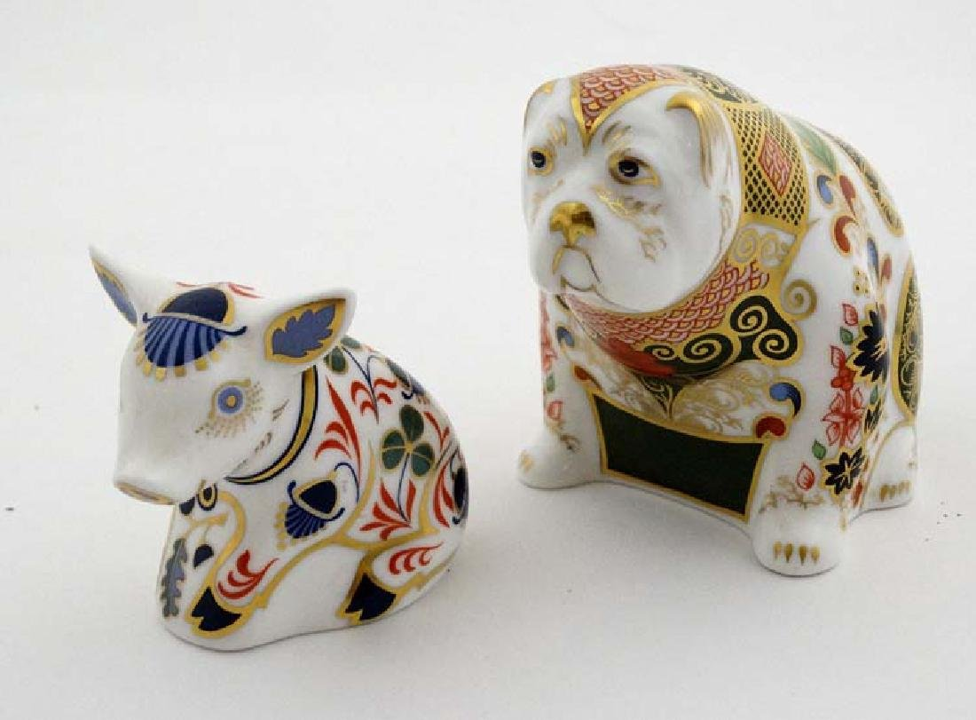 Two Royal Crown Derby paperweights. One formed as a Pig - 5