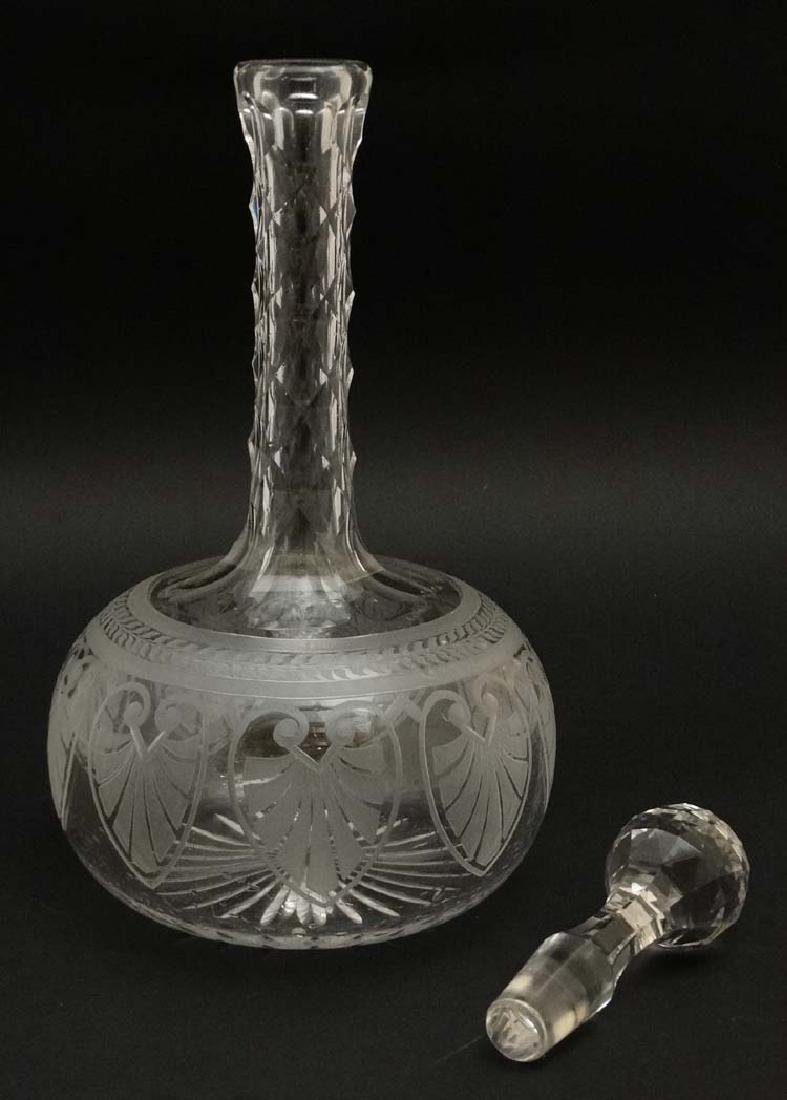 A 19thC glass decanter with facet cut decoration to the - 3