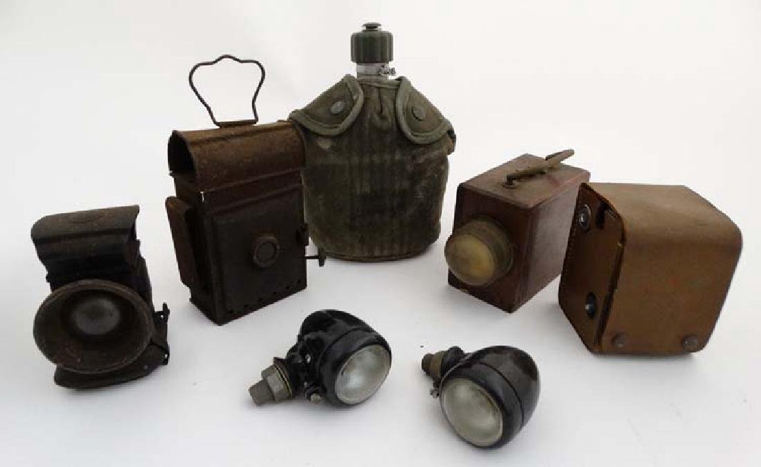 Assorted items to include a US Army - issue water - 2