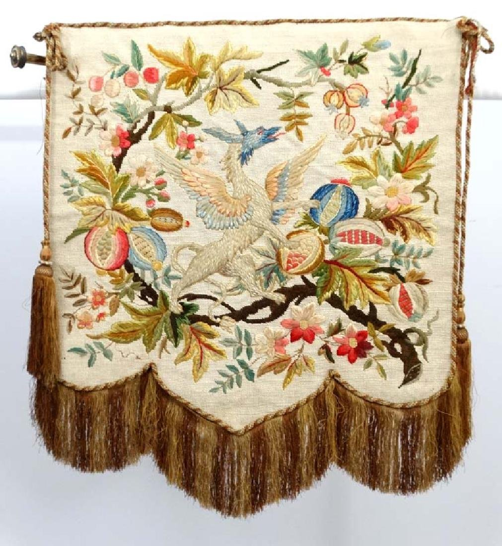 A Victorian brass hinged banner screen with crewelwork - 3