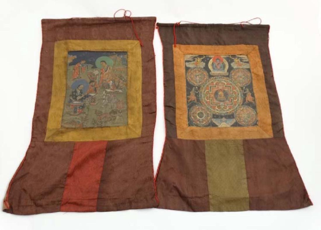 Thangka - two wall hanging silk thangka, one depicting