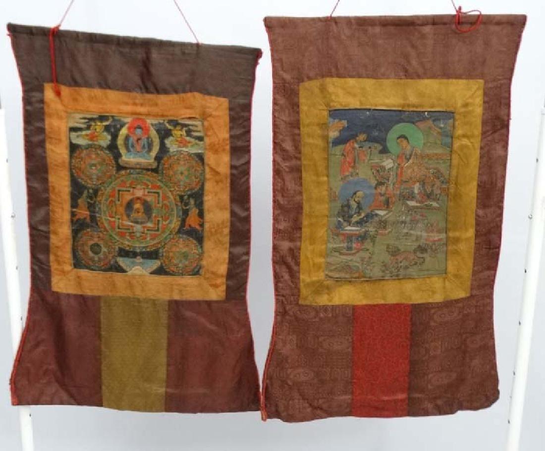 Thangka - two wall hanging silk thangka, one depicting - 3