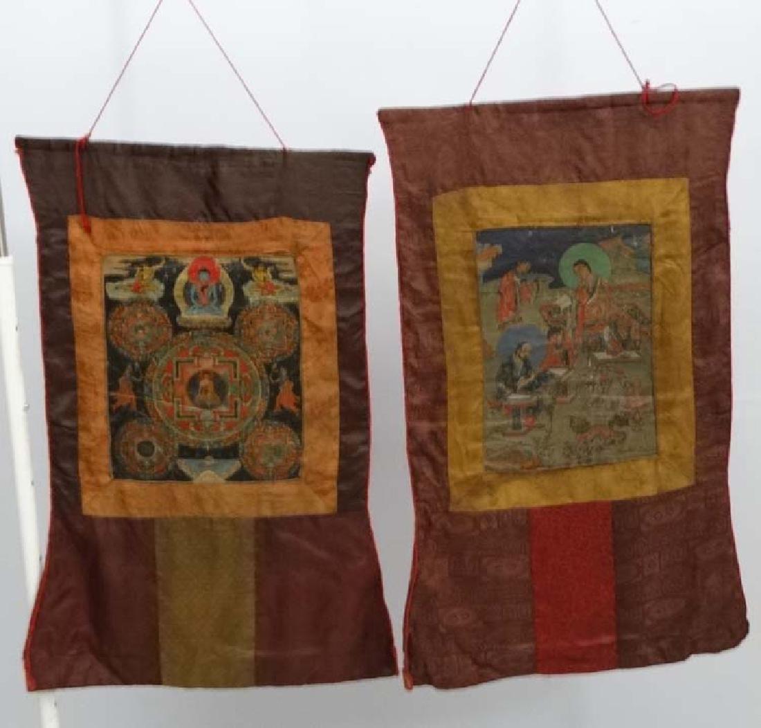 Thangka - two wall hanging silk thangka, one depicting - 4