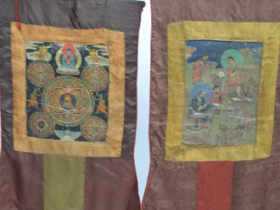 Thangka - two wall hanging silk thangka, one depicting - 5