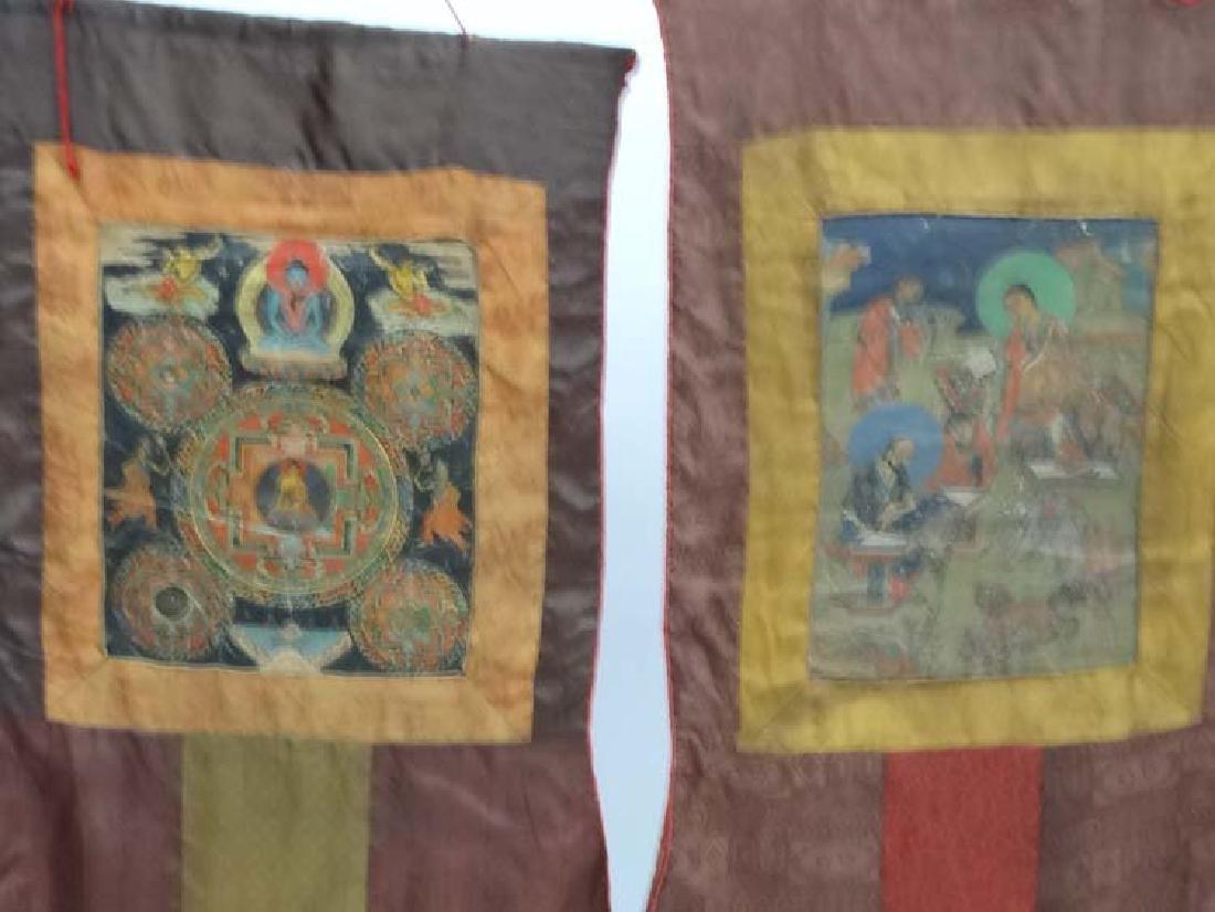 Thangka - two wall hanging silk thangka, one depicting - 6
