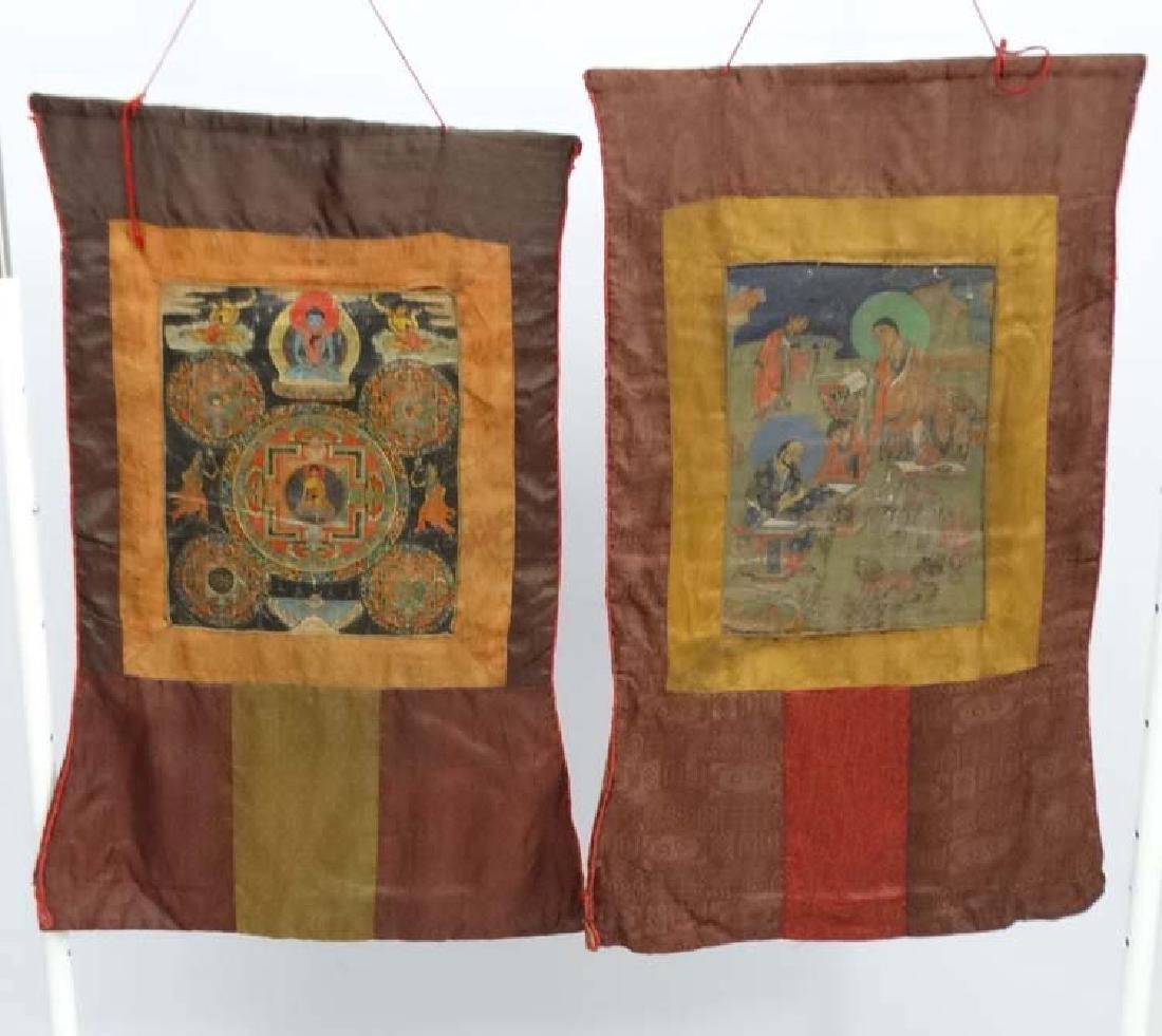 Thangka - two wall hanging silk thangka, one depicting - 7