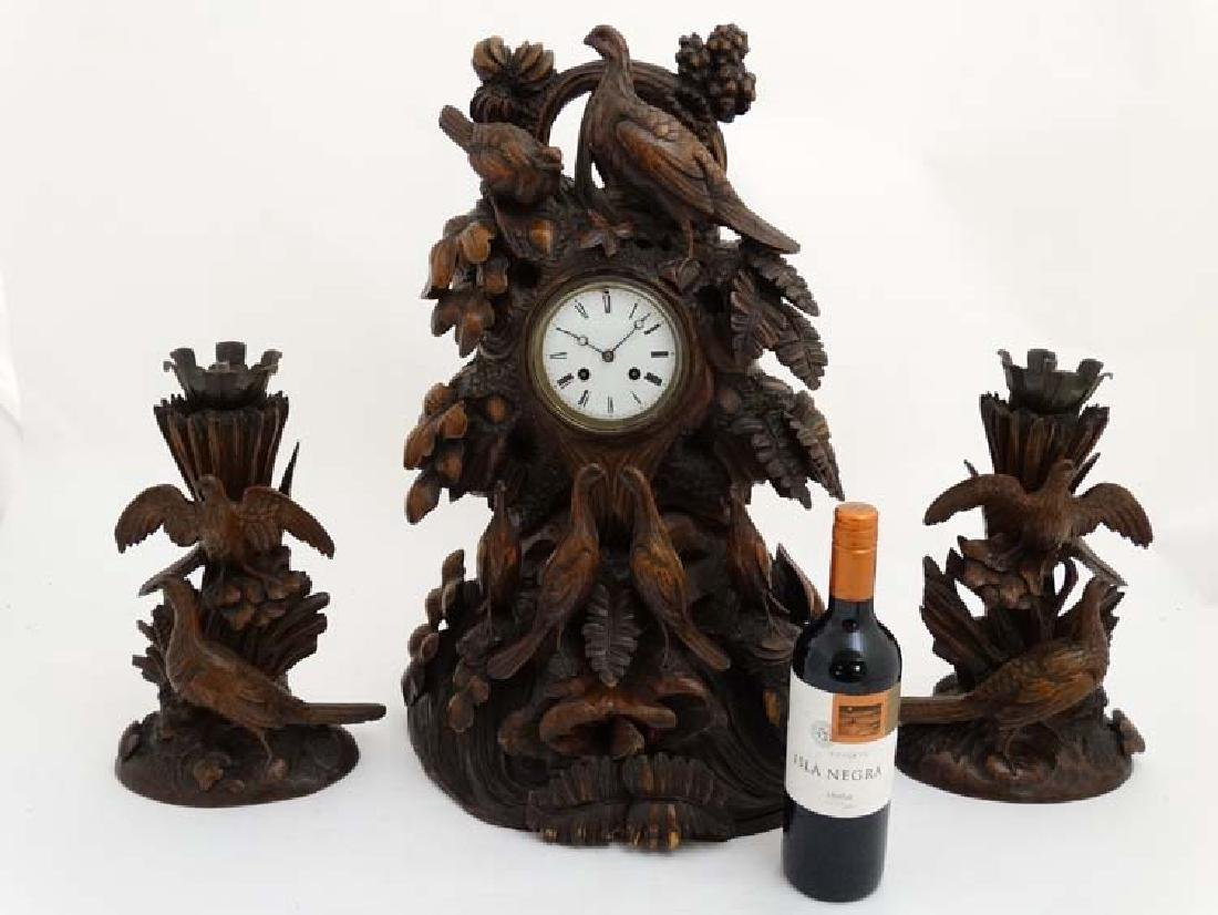 Impressive 19thC Black Forest clock and garnitures : - 3