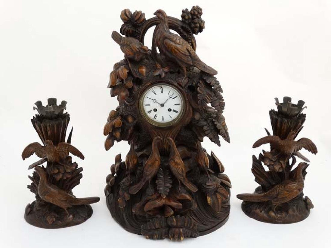 Impressive 19thC Black Forest clock and garnitures : - 4