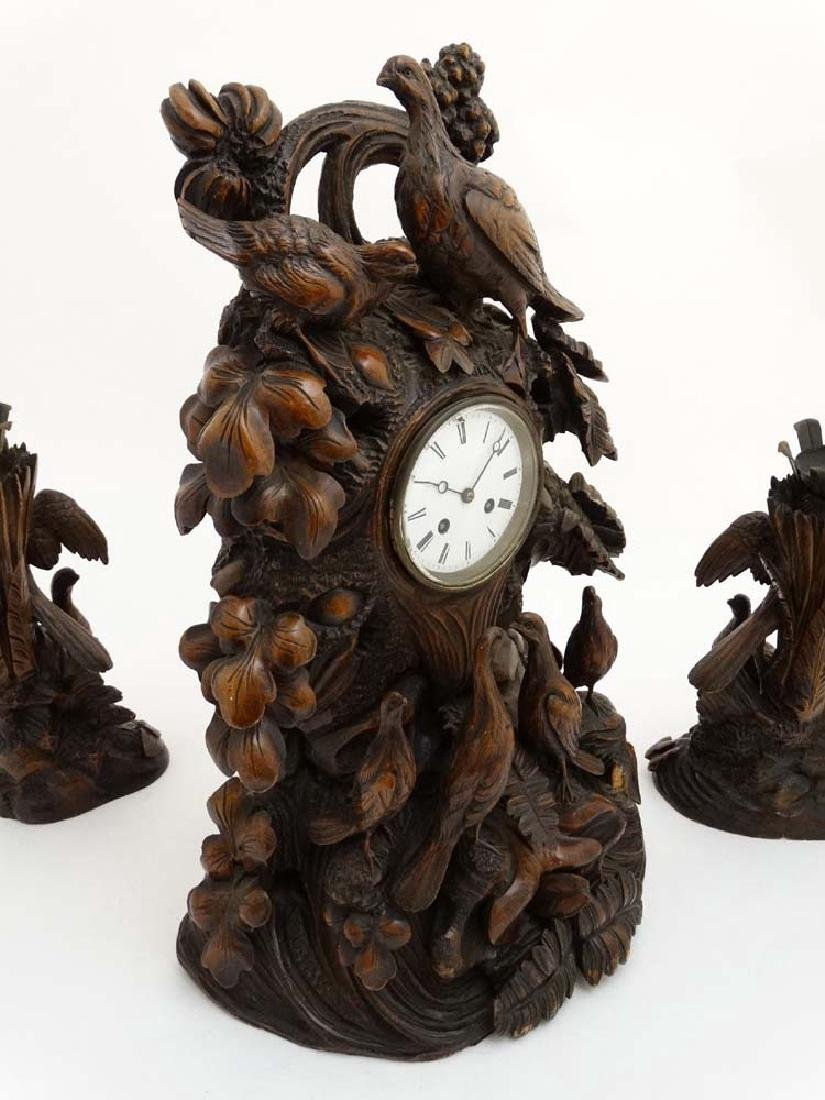 Impressive 19thC Black Forest clock and garnitures : - 7