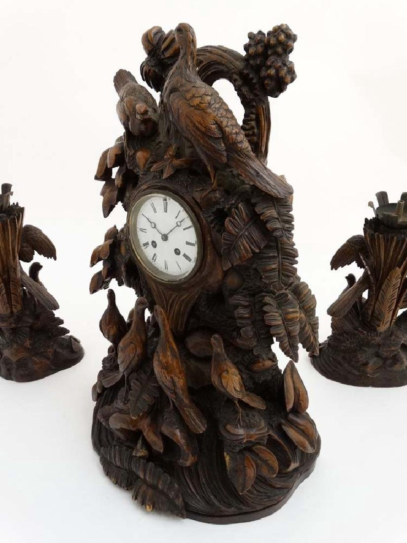 Impressive 19thC Black Forest clock and garnitures : - 8