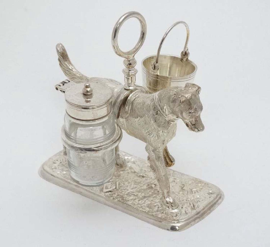 A 21stC novelty silver plate cruet stand formed as a