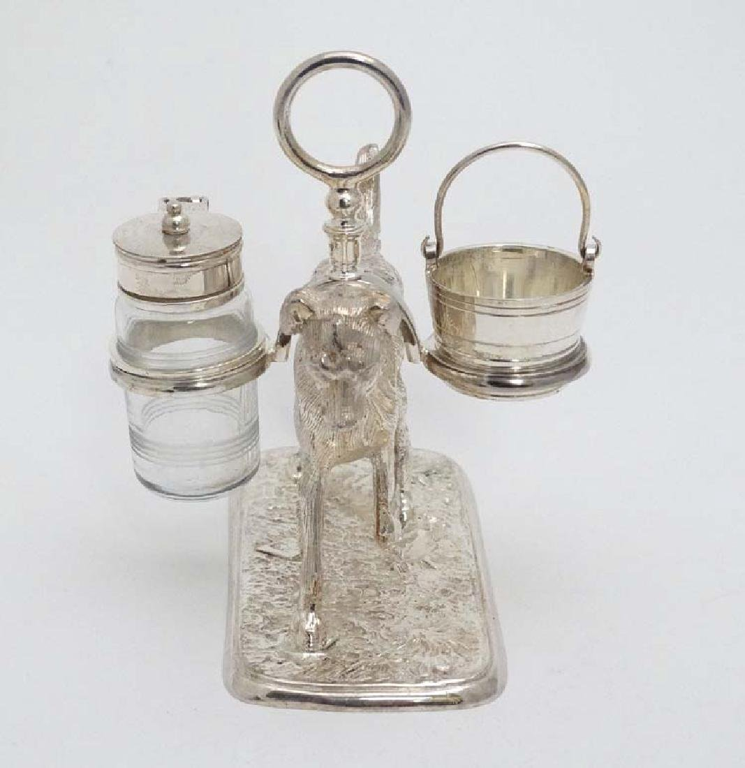 A 21stC novelty silver plate cruet stand formed as a - 4