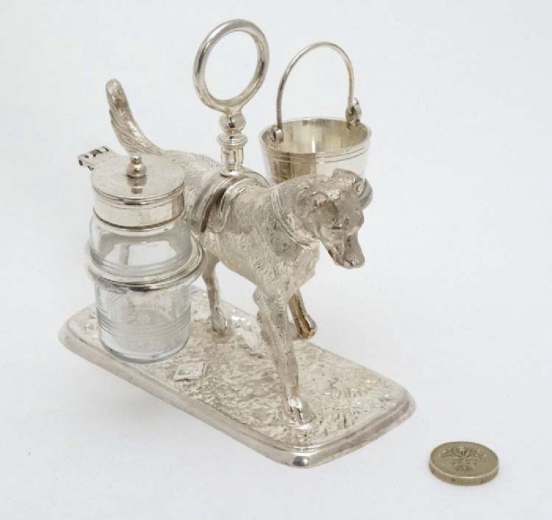 A 21stC novelty silver plate cruet stand formed as a - 6