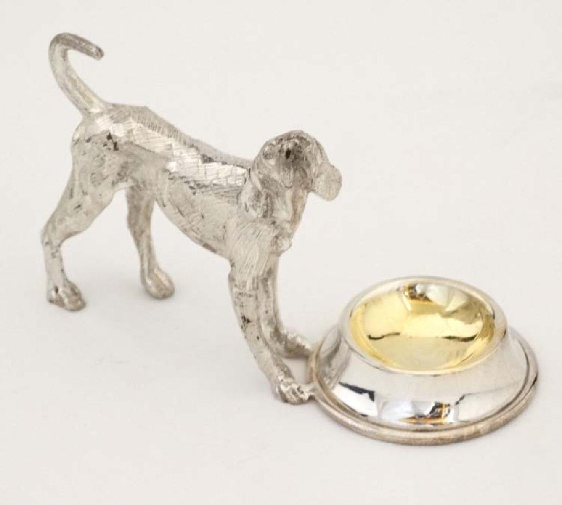 A silver plate novelty table salt formed as a dog - 3
